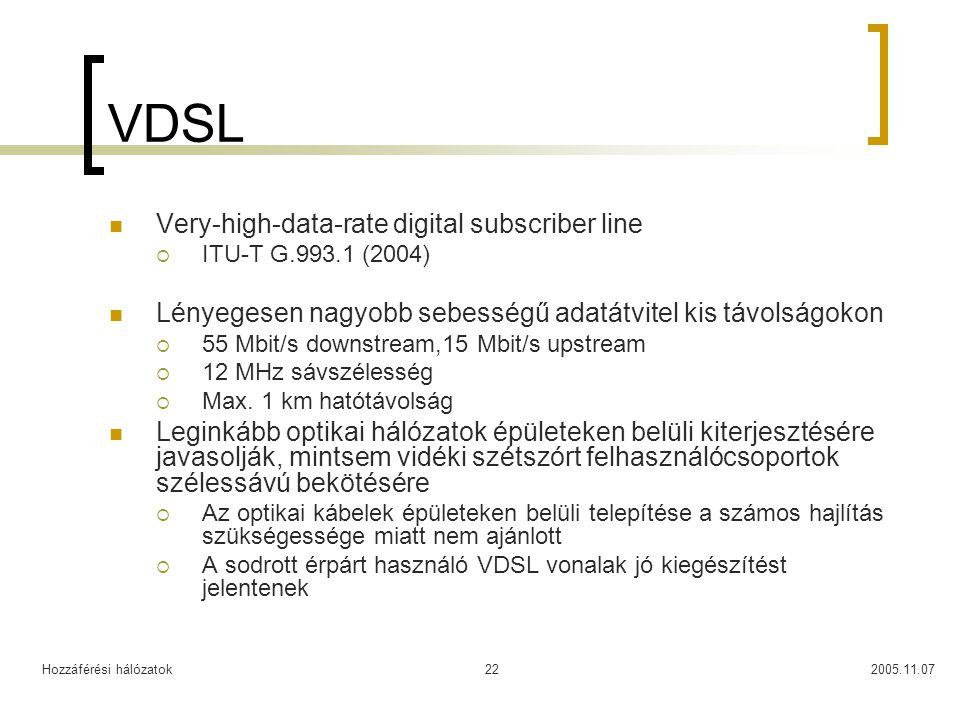 Hozzáférési hálózatok2005.11.0722 VDSL Very-high-data-rate digital subscriber line  ITU-T G.993.1 (2004) Lényegesen nagyobb sebességű adatátvitel kis