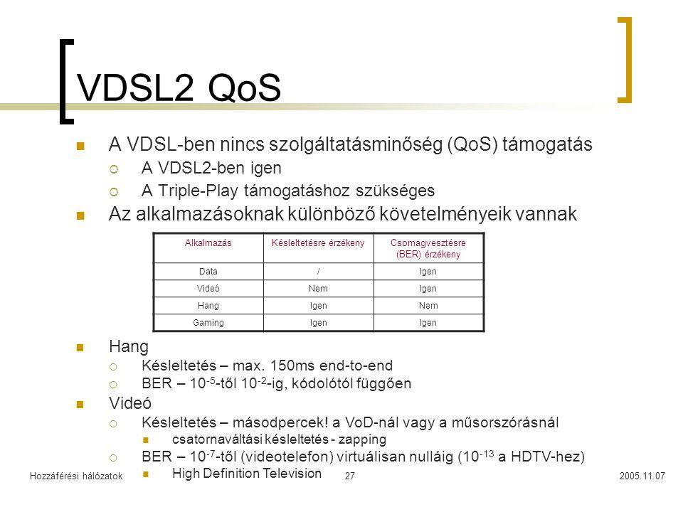 Hozzáférési hálózatok2005.11.0727 VDSL2 QoS A VDSL-ben nincs szolgáltatásminőség (QoS) támogatás  A VDSL2-ben igen  A Triple-Play támogatáshoz szüks