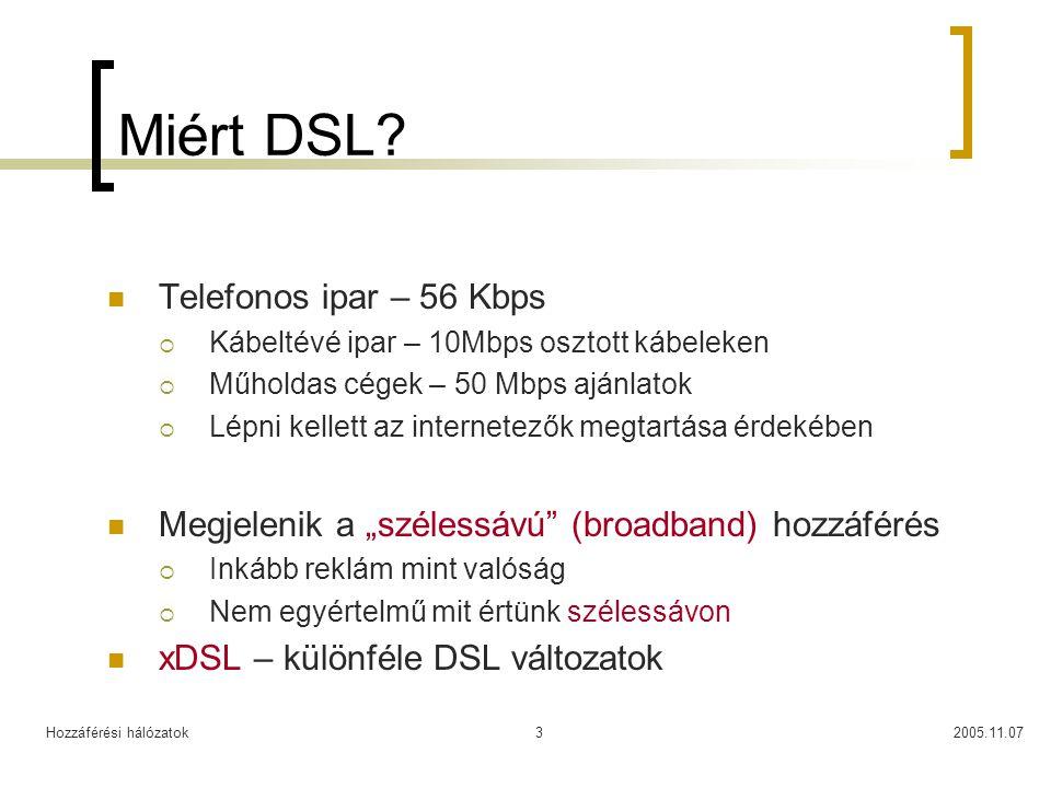 Hozzáférési hálózatok2005.11.073 Miért DSL? Telefonos ipar – 56 Kbps  Kábeltévé ipar – 10Mbps osztott kábeleken  Műholdas cégek – 50 Mbps ajánlatok