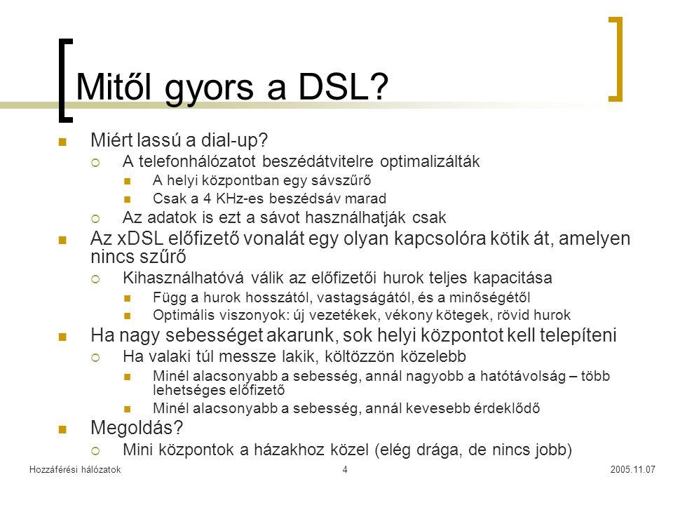 Hozzáférési hálózatok2005.11.074 Mitől gyors a DSL? Miért lassú a dial-up?  A telefonhálózatot beszédátvitelre optimalizálták A helyi központban egy