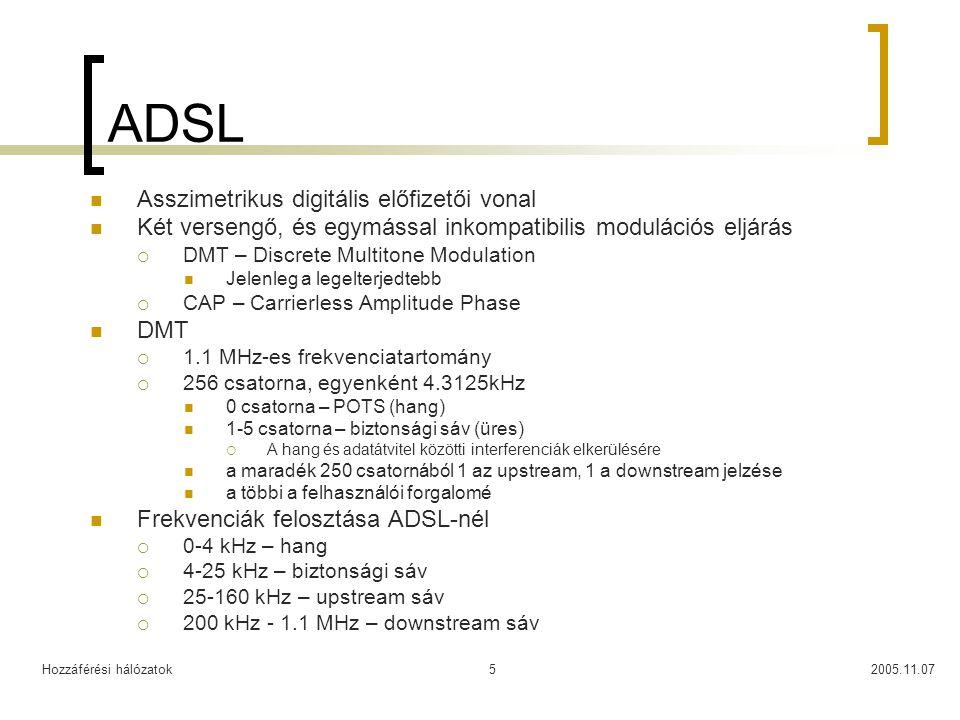 Hozzáférési hálózatok2005.11.075 ADSL Asszimetrikus digitális előfizetői vonal Két versengő, és egymással inkompatibilis modulációs eljárás  DMT – Di