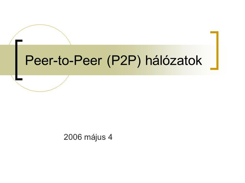 2005 május 4P2P hálózatok 22 IGMP Internet Group Management Protocol IPv4 protokoll, a végső felhasználók és a helyi multicast router-ek között a helyi hálózaton  A multicast csoportokban való tagságot kezeli  Aszimetrikus protokoll Felhasználó rész Router rész A router megtanulja hogy milyen csoportokat hallgatnak a saját helyi hálózatán  Nem érdekli hányan hallgatják, a fontos hogy legyen legalább egy valaki  Nem érdekli ki hallgatja