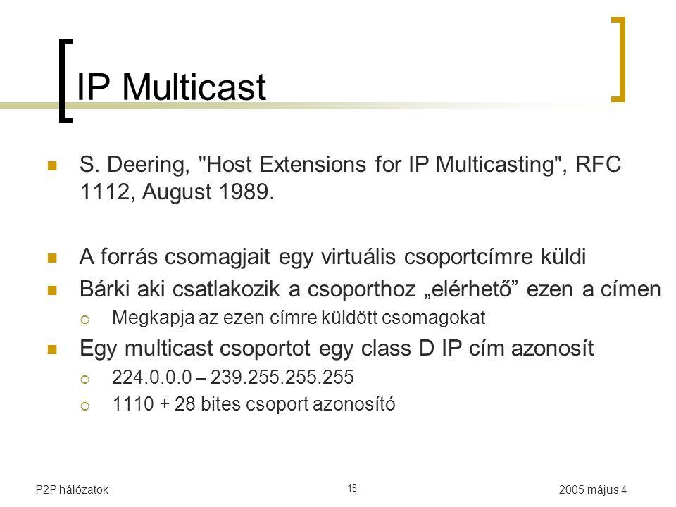 2005 május 4P2P hálózatok 18 IP Multicast S.