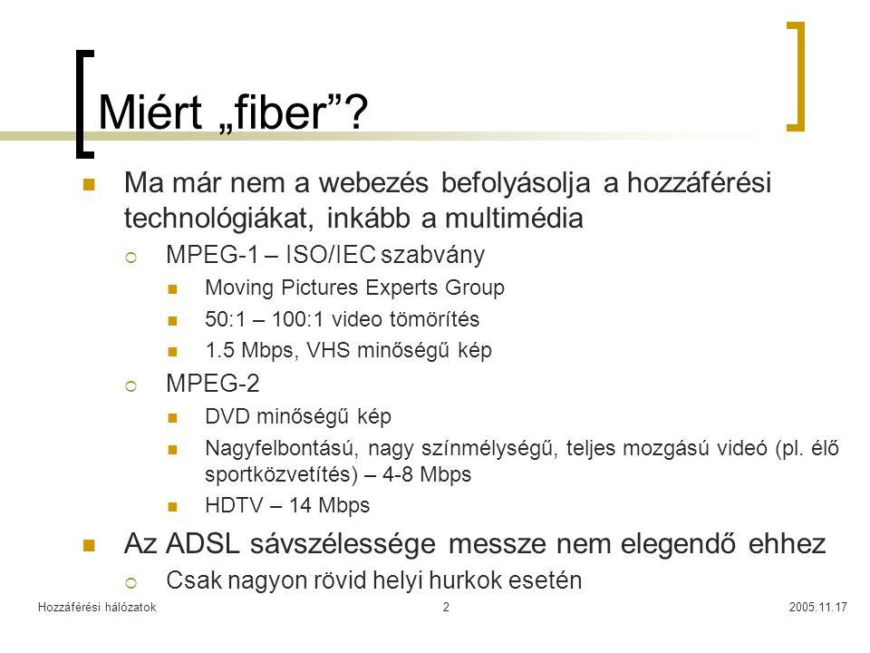 """Hozzáférési hálózatok2005.11.172 Miért """"fiber""""? Ma már nem a webezés befolyásolja a hozzáférési technológiákat, inkább a multimédia  MPEG-1 – ISO/IEC"""