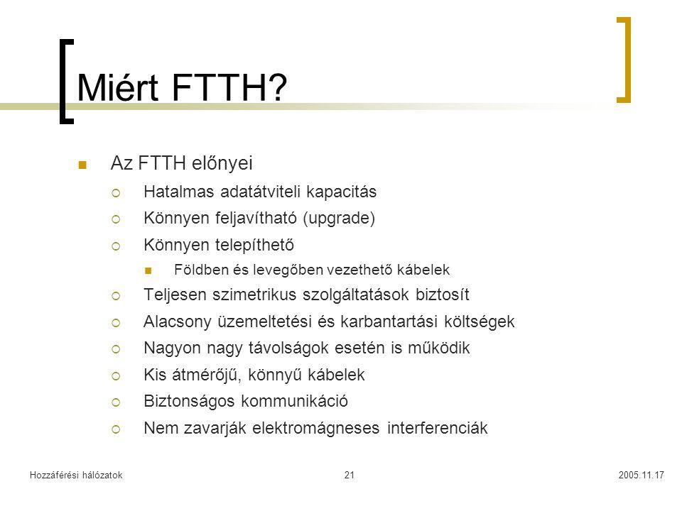 Hozzáférési hálózatok2005.11.1721 Miért FTTH? Az FTTH előnyei  Hatalmas adatátviteli kapacitás  Könnyen feljavítható (upgrade)  Könnyen telepíthető