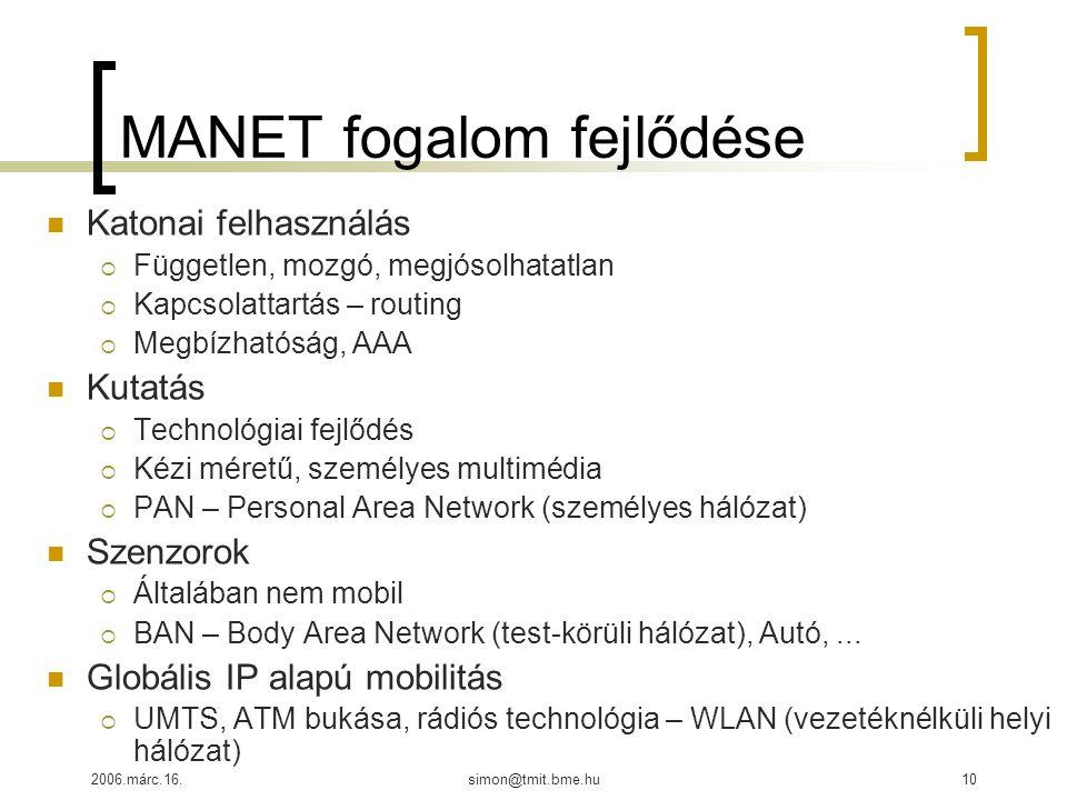 2006.márc.16.simon@tmit.bme.hu10 MANET fogalom fejlődése Katonai felhasználás  Független, mozgó, megjósolhatatlan  Kapcsolattartás – routing  Megbízhatóság, AAA Kutatás  Technológiai fejlődés  Kézi méretű, személyes multimédia  PAN – Personal Area Network (személyes hálózat) Szenzorok  Általában nem mobil  BAN – Body Area Network (test-körüli hálózat), Autó,...