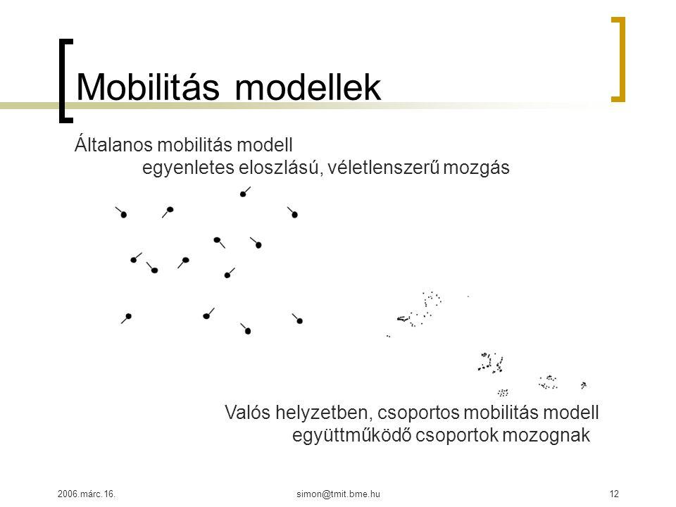 2006.márc.16.simon@tmit.bme.hu12 Mobilitás modellek Általanos mobilitás modell egyenletes eloszlású, véletlenszerű mozgás Valós helyzetben, csoportos mobilitás modell együttműködő csoportok mozognak