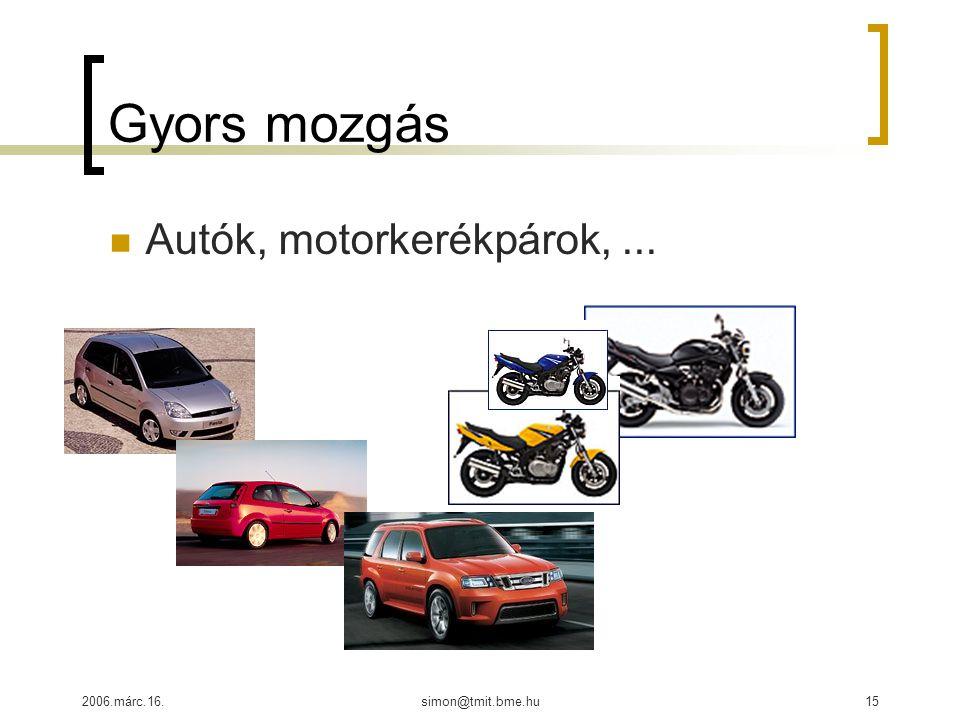 2006.márc.16.simon@tmit.bme.hu15 Gyors mozgás Autók, motorkerékpárok,...
