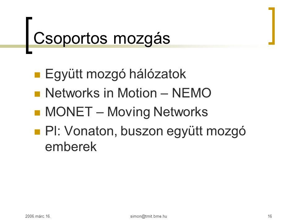 2006.márc.16.simon@tmit.bme.hu16 Csoportos mozgás Együtt mozgó hálózatok Networks in Motion – NEMO MONET – Moving Networks Pl: Vonaton, buszon együtt mozgó emberek