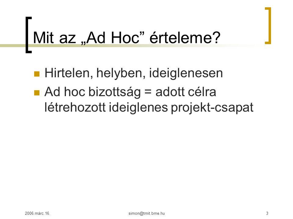"""2006.márc.16.simon@tmit.bme.hu3 Mit az """"Ad Hoc érteleme."""
