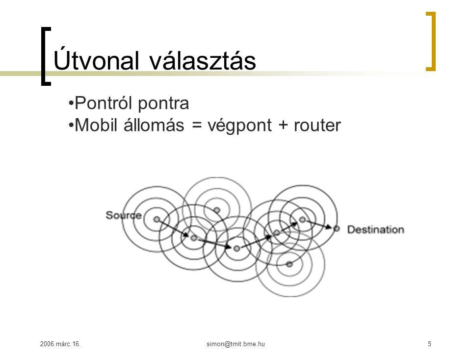 2006.márc.16.simon@tmit.bme.hu5 Útvonal választás Pontról pontra Mobil állomás = végpont + router