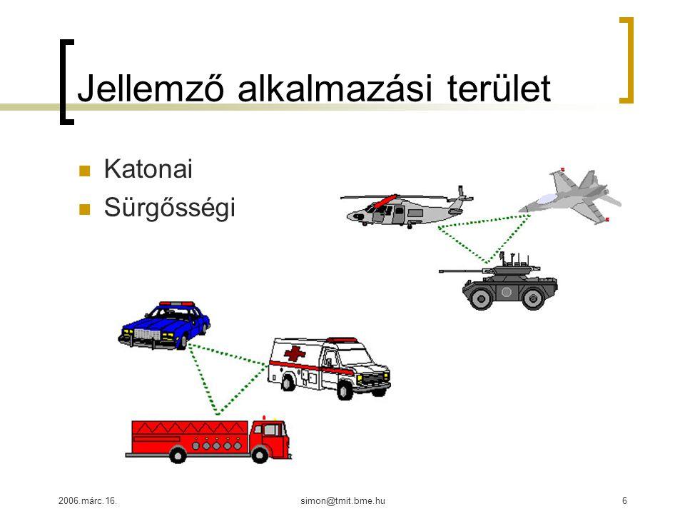 2006.márc.16.simon@tmit.bme.hu6 Jellemző alkalmazási terület Katonai Sürgősségi