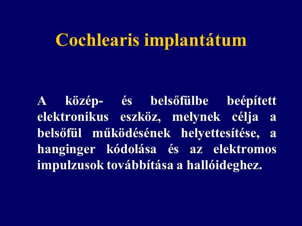 Cochlearis implantátum A közép- és belsőfülbe beépített elektronikus eszköz, melynek célja a belsőfül működésének helyettesítése, a hanginger kódolása és az elektromos impulzusok továbbítása a hallóideghez.