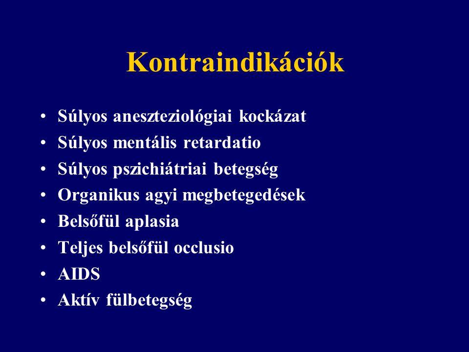 Kontraindikációk Súlyos aneszteziológiai kockázat Súlyos mentális retardatio Súlyos pszichiátriai betegség Organikus agyi megbetegedések Belsőfül aplasia Teljes belsőfül occlusio AIDS Aktív fülbetegség
