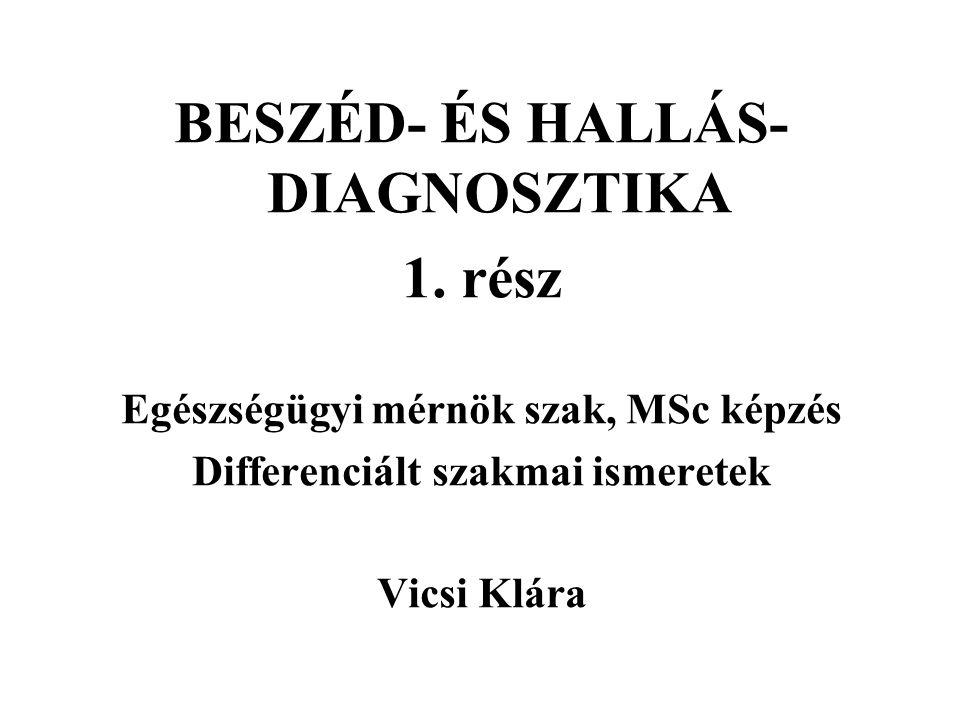 BESZÉD- ÉS HALLÁS- DIAGNOSZTIKA 1.