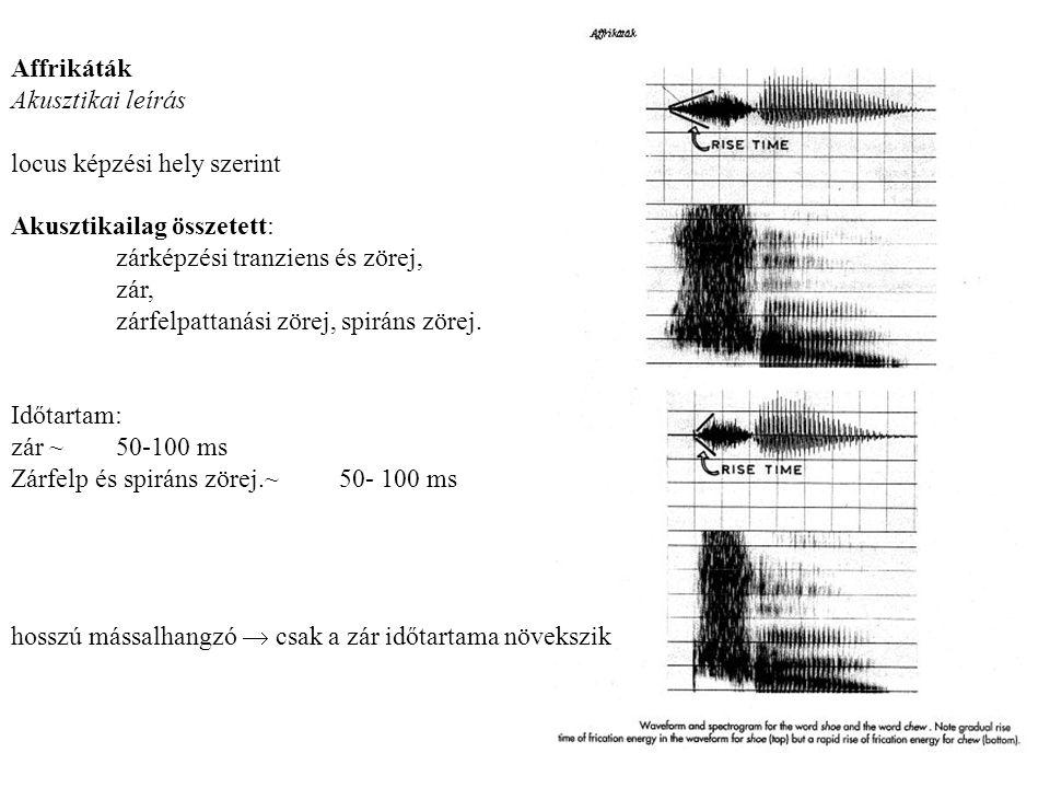 Affrikáták Akusztikai leírás locus képzési hely szerint Akusztikailag összetett: zárképzési tranziens és zörej, zár, zárfelpattanási zörej, spiráns zörej.