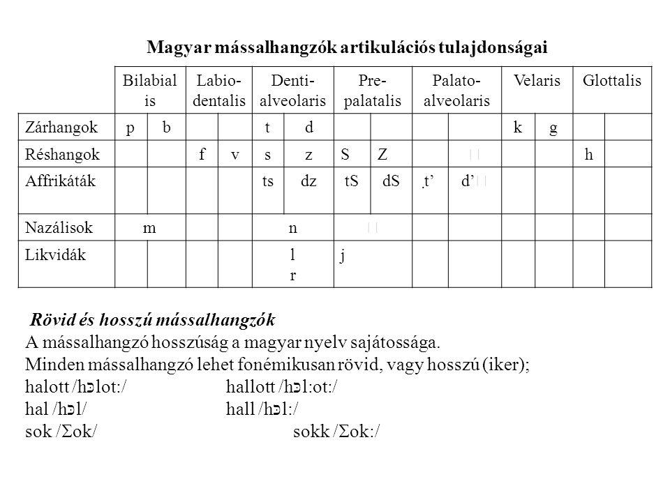 Magyar mássalhangzók artikulációs tulajdonságai Bilabial is Labio- dentalis Denti- alveolaris Pre- palatalis Palato- alveolaris VelarisGlottalis Zárhangokpbtdkg RéshangokfvszSZ  h AffrikátáktsdztSdSt' d'  Nazálisokmn  Likvidáklrlr j Rövid és hosszú mássalhangzók A mássalhangzó hosszúság a magyar nyelv sajátossága.