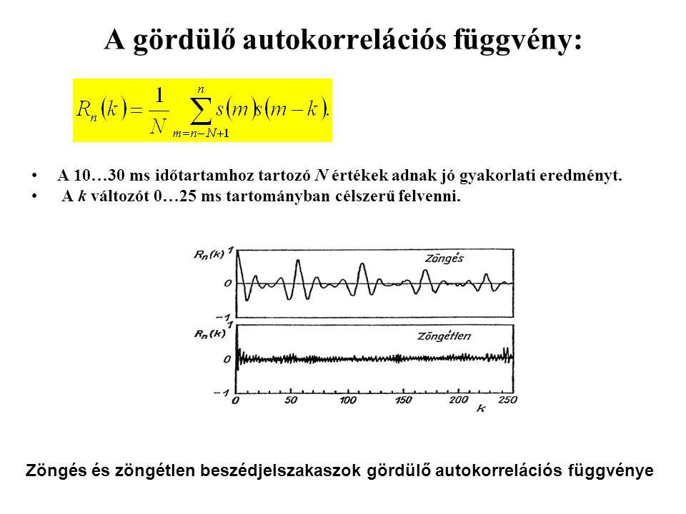 A gördülő autokorrelációs függvény: A 10…30 ms időtartamhoz tartozó N értékek adnak jó gyakorlati eredményt.