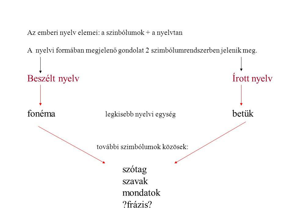 Az emberi nyelv elemei: a szinbólumok + a nyelvtan A nyelvi formában megjelenő gondolat 2 szimbólumrendszerben jelenik meg.