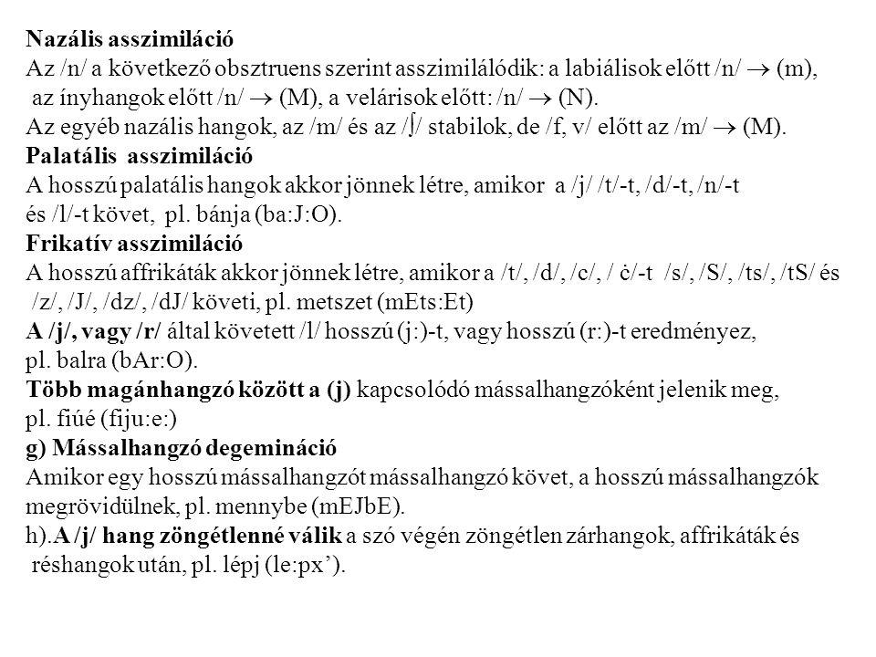 Nazális asszimiláció Az /n/ a következő obsztruens szerint asszimilálódik: a labiálisok előtt /n/  (m), az ínyhangok előtt /n/  (M), a velárisok előtt: /n/  (N).