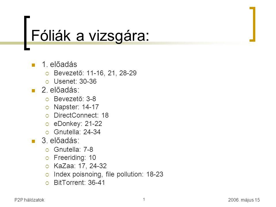 2006. május 15P2P hálózatok 1 Fóliák a vizsgára: 1. előadás  Bevezető: 11-16, 21, 28-29  Usenet: 30-36 2. előadás:  Bevezető: 3-8  Napster: 14-17