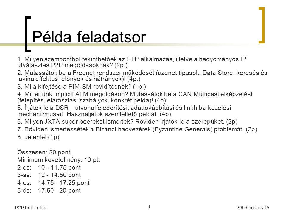 2006. május 15P2P hálózatok 4 Példa feladatsor 1. Milyen szempontból tekinthetőek az FTP alkalmazás, illetve a hagyományos IP útválasztás P2P megoldás