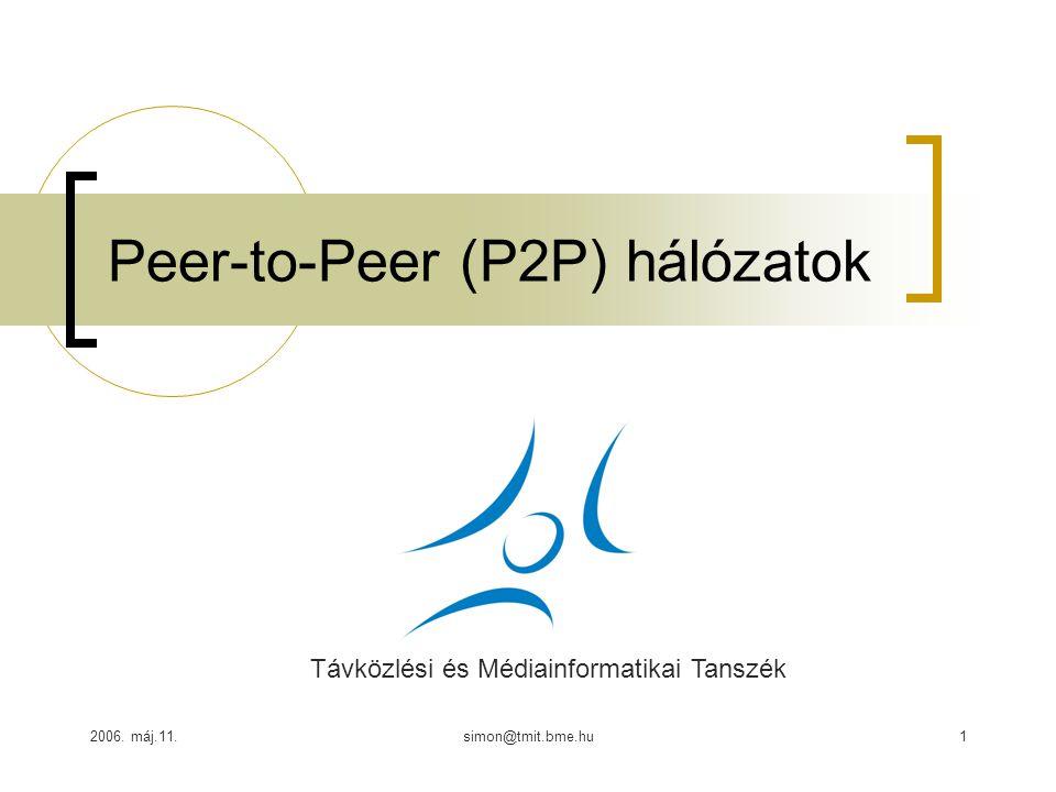 2006. máj.11.simon@tmit.bme.hu1 Peer-to-Peer (P2P) hálózatok Távközlési és Médiainformatikai Tanszék
