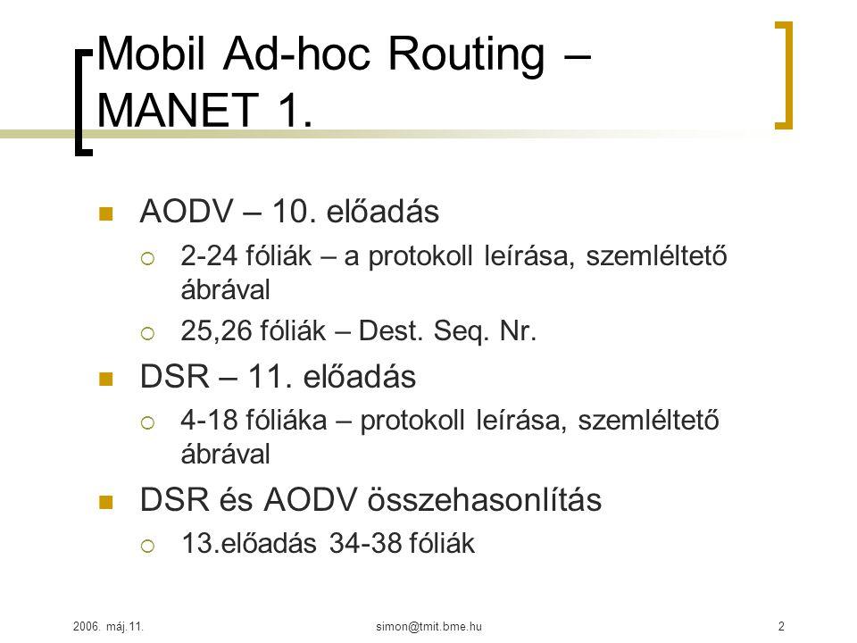 2006. máj.11.simon@tmit.bme.hu2 Mobil Ad-hoc Routing – MANET 1. AODV – 10. előadás  2-24 fóliák – a protokoll leírása, szemléltető ábrával  25,26 fó