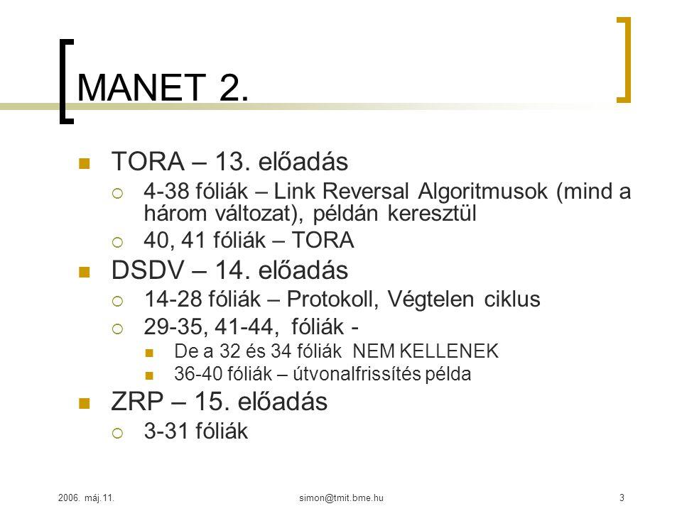 2006. máj.11.simon@tmit.bme.hu3 MANET 2. TORA – 13. előadás  4-38 fóliák – Link Reversal Algoritmusok (mind a három változat), példán keresztül  40,