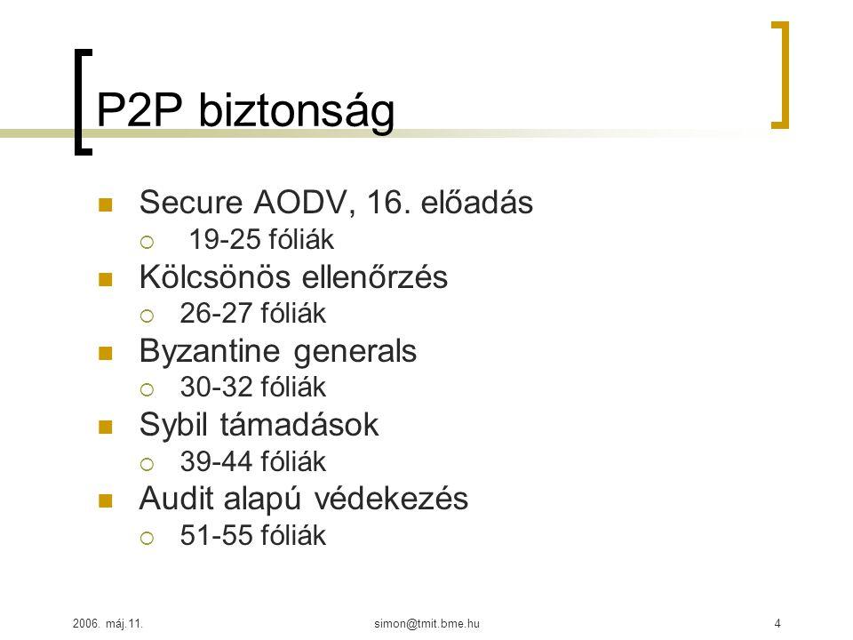 2006. máj.11.simon@tmit.bme.hu4 P2P biztonság Secure AODV, 16. előadás  19-25 fóliák Kölcsönös ellenőrzés  26-27 fóliák Byzantine generals  30-32 f