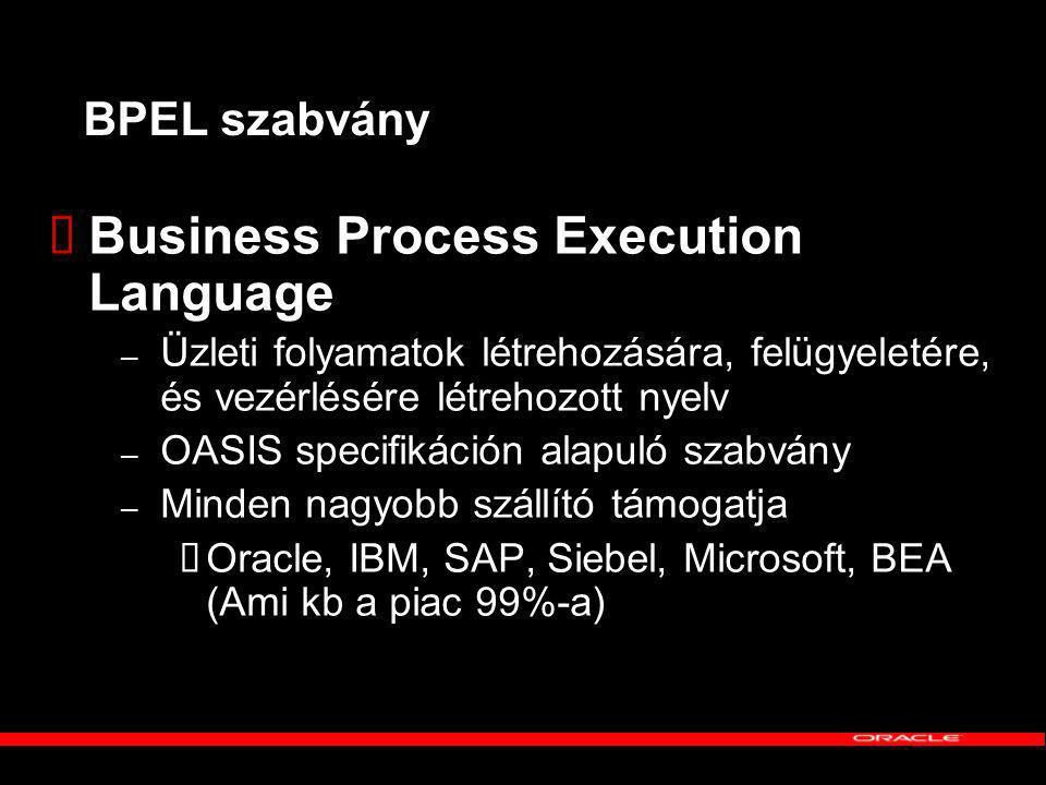 BPEL szabvány  Business Process Execution Language – Üzleti folyamatok létrehozására, felügyeletére, és vezérlésére létrehozott nyelv – OASIS specifikáción alapuló szabvány – Minden nagyobb szállító támogatja  Oracle, IBM, SAP, Siebel, Microsoft, BEA (Ami kb a piac 99%-a)