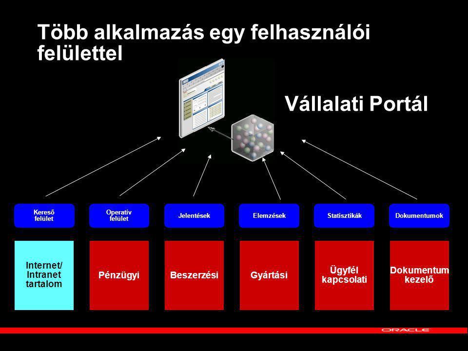 Több alkalmazás egy felhasználói felülettel PénzügyiBeszerzésiGyártási Ügyfél kapcsolati Dokumentum kezelő Operatív felület JelentésekElemzésekStatisztikákDokumentumok Vállalati Portál Internet/ Intranet tartalom Kereső felület