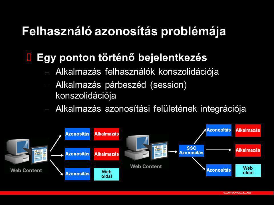 Felhasználó azonosítás problémája  Egy ponton történő bejelentkezés – Alkalmazás felhasználók konszolidációja – Alkalmazás párbeszéd (session) konszolidációja – Alkalmazás azonosítási felületének integrációja Azonosítás Alkalmazás Azonosítás Alkalmazás Azonosítás Web oldal Azonosítás Alkalmazás SSO Azonosítás Alkalmazás Azonosítás Web oldal
