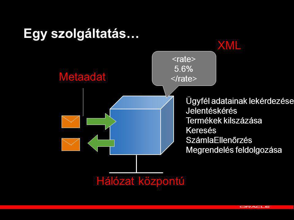 Egy szolgáltatás… 5.6% XML Hálózat központú Metaadat Ügyfél adatainak lekérdezése Jelentéskérés Termékek kilszázása Keresés SzámlaEllenőrzés Megrendelés feldolgozása