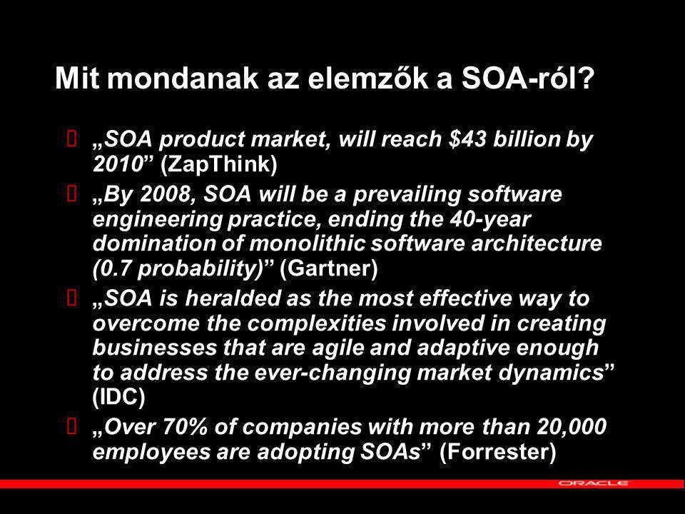 """Elvárások a SOA-val szemben """"Egy nagy szállító cég az ERP szállítójától 12 havonta kap egy frissítést és 9-12 hónapig tart annak az implementálása."""