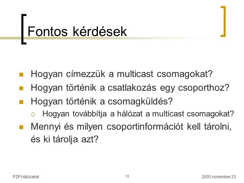 2005 november 23P2P hálózatok 13 Fontos kérdések Hogyan címezzük a multicast csomagokat.