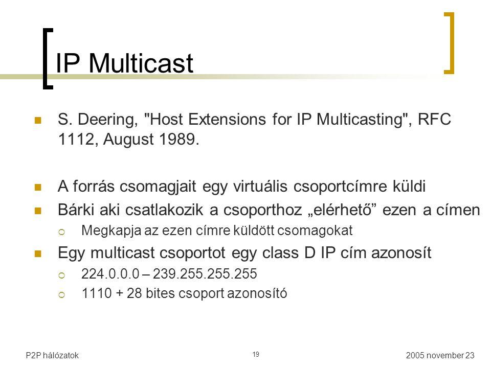 2005 november 23P2P hálózatok 19 IP Multicast S.