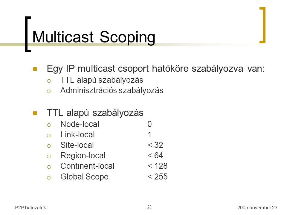 2005 november 23P2P hálózatok 20 Multicast Scoping Egy IP multicast csoport hatóköre szabályozva van:  TTL alapú szabályozás  Adminisztrációs szabályozás TTL alapú szabályozás  Node-local0  Link-local1  Site-local< 32  Region-local< 64  Continent-local< 128  Global Scope< 255