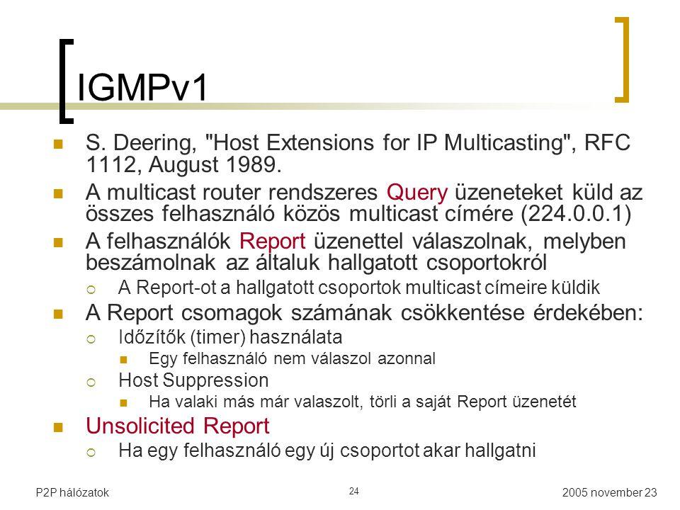 2005 november 23P2P hálózatok 24 IGMPv1 S.