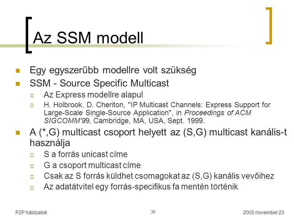 2005 november 23P2P hálózatok 39 Az SSM modell Egy egyszerűbb modellre volt szükség SSM - Source Specific Multicast  Az Express modellre alapul  H.