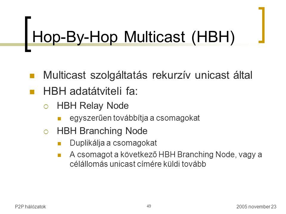 2005 november 23P2P hálózatok 49 Hop-By-Hop Multicast (HBH) Multicast szolgáltatás rekurzív unicast által HBH adatátviteli fa:  HBH Relay Node egyszerűen továbbítja a csomagokat  HBH Branching Node Duplikálja a csomagokat A csomagot a következő HBH Branching Node, vagy a célállomás unicast címére küldi tovább