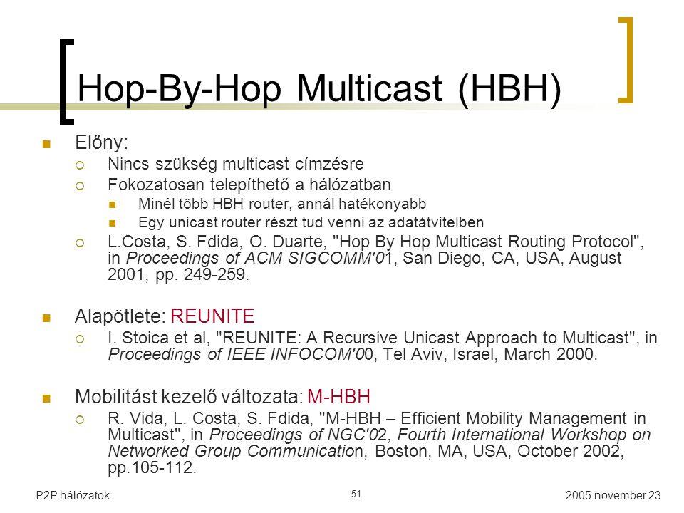 2005 november 23P2P hálózatok 51 Hop-By-Hop Multicast (HBH) Előny:  Nincs szükség multicast címzésre  Fokozatosan telepíthető a hálózatban Minél több HBH router, annál hatékonyabb Egy unicast router részt tud venni az adatátvitelben  L.Costa, S.