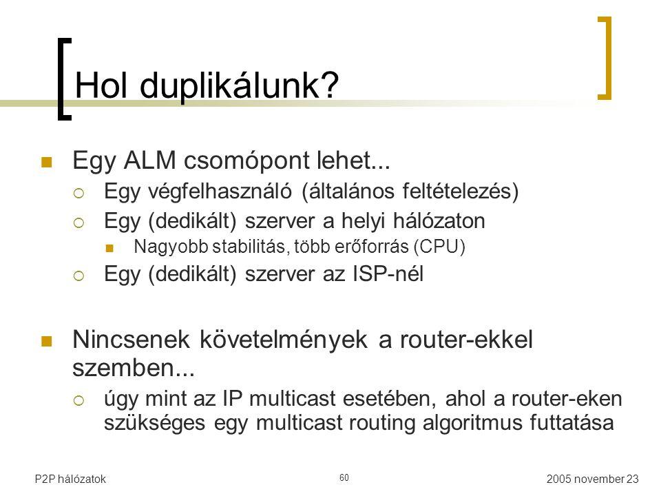 2005 november 23P2P hálózatok 60 Hol duplikálunk.Egy ALM csomópont lehet...