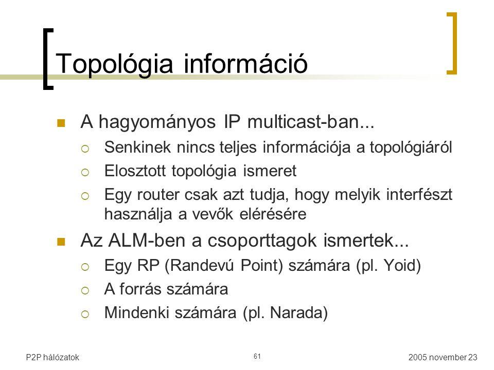 2005 november 23P2P hálózatok 61 Topológia információ A hagyományos IP multicast-ban...