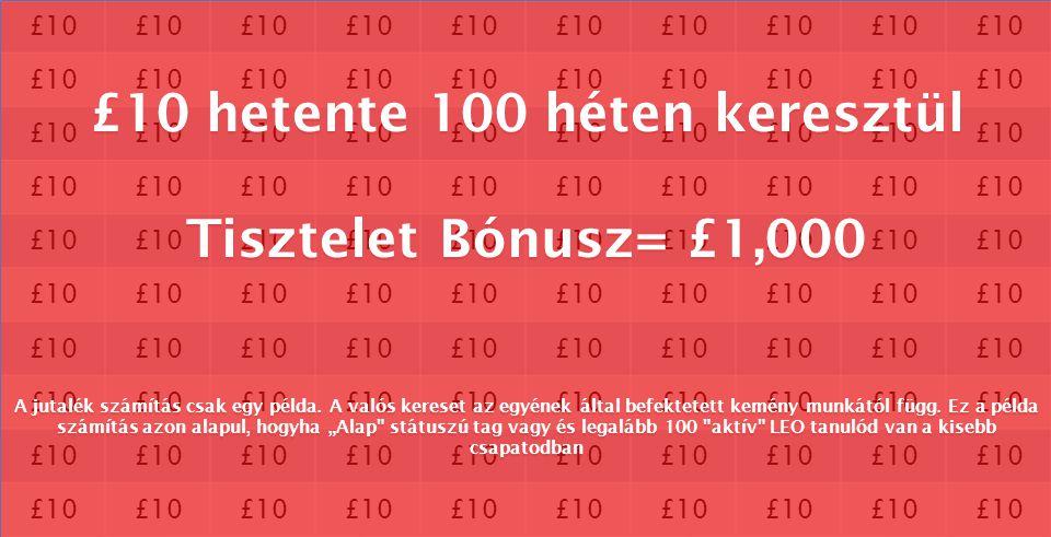 £10 £10 hetente 100 héten keresztül Tisztelet Bónusz= £1,000 A jutalék számítás csak egy példa. A valós kereset az egyének által befektetett kemény mu
