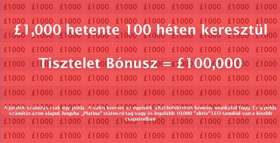 £1000 £1,000 hetente 100 héten keresztül Tisztelet Bónusz = £100,000 A jutalék számítás csak egy példa. A valós kereset az egyének által befektetett k