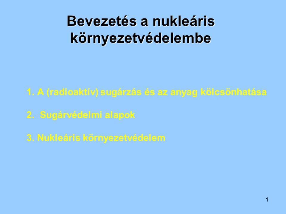 1 1.A (radioaktív) sugárzás és az anyag kölcsönhatása 2. Sugárvédelmi alapok 3.Nukleáris környezetvédelem Bevezetés a nukleáris környezetvédelembe