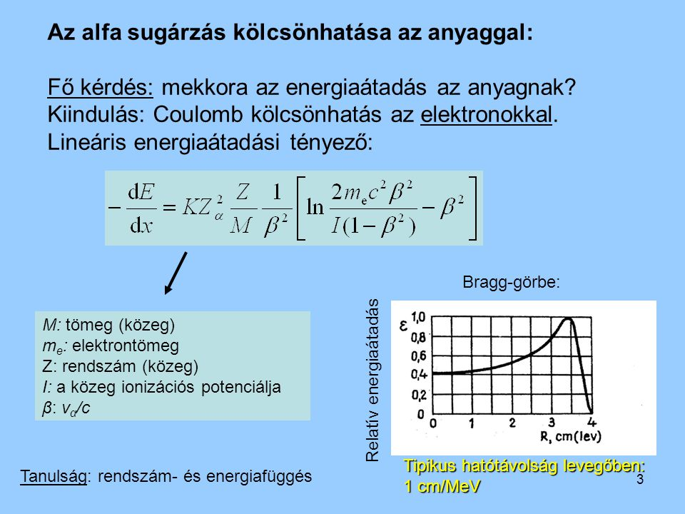 3 Az alfa sugárzás kölcsönhatása az anyaggal: Fő kérdés: mekkora az energiaátadás az anyagnak? Kiindulás: Coulomb kölcsönhatás az elektronokkal. Lineá