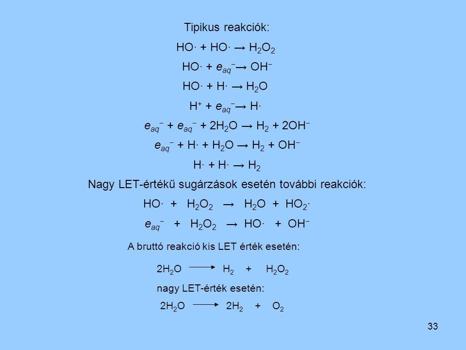 33 2H 2 O 2H 2 + O 2 Tipikus reakciók: HO· + HO· → H 2 O 2 HO· + e aq − → OH − HO· + H· → H 2 O H + + e aq − → H· e aq − + e aq − + 2H 2 O → H 2 + 2OH