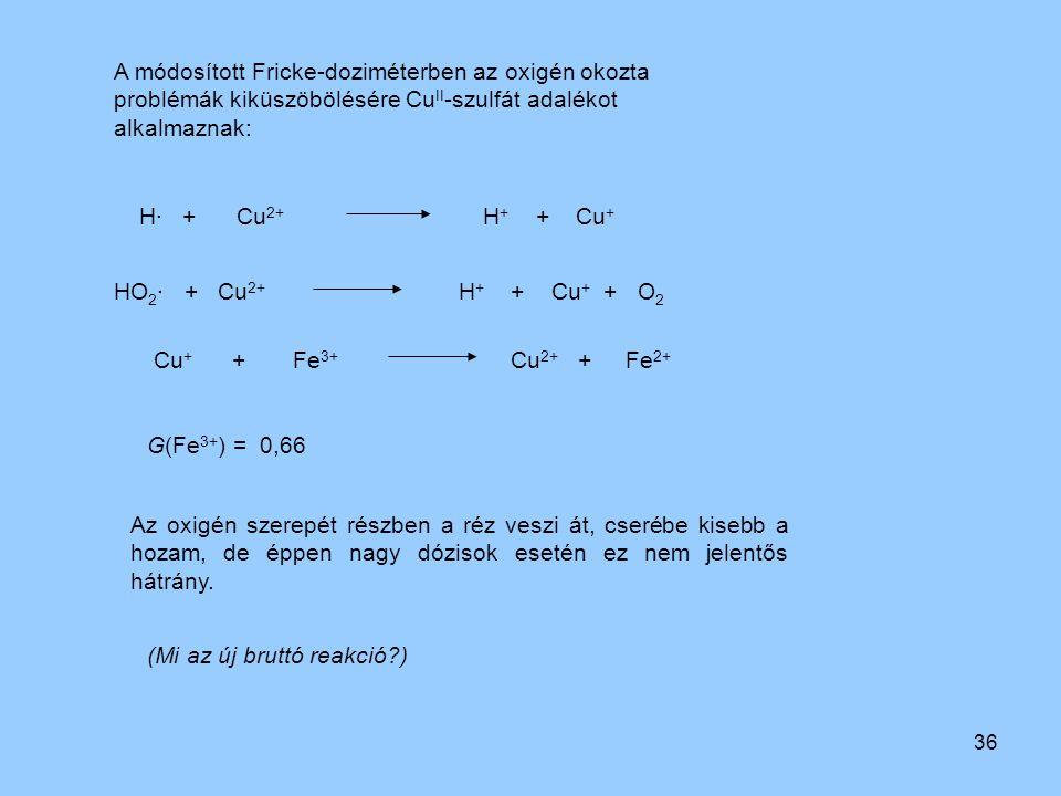 36 Cu + + Fe 3+ Cu 2+ + Fe 2+ HO 2 · + Cu 2+ H + + Cu + + O 2 H· + Cu 2+ H + + Cu + A módosított Fricke-doziméterben az oxigén okozta problémák kiküsz